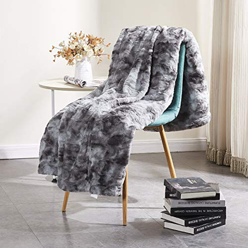 Rose Home Fashion RHF Faux Fur Throw Blankets, Gothic Decor, Fuzzy Blanket, Soft Blanket, Throw Blanket for Couch, Plush Blanket, Fur Blanket, Fluffy Blanket, (Grey, Throw50 x 60)