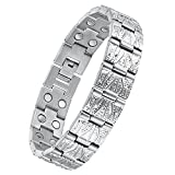 USWEL Magnetic Bracelets for Men Pure Titanium Bracelet Magnetic Therapy Bracelets for Arthritis and Carpal Tunnel Adjustable with Sizing Tool and Gift Box Packed(Silver)