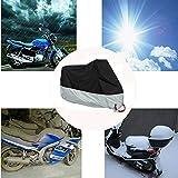 Cubierta impermeable para protección contra la lluvia y los rayos UV para motocicleta, color negro y plateado