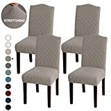 Turquoize Stretch Dining Chair Slipcovers Jacquard Removable Washable High Dining Room Chair Protector Covers Sets Parson Chair Protector Cover Perfect for Dining Room, Hotel, Ceremony (4, Taupe)