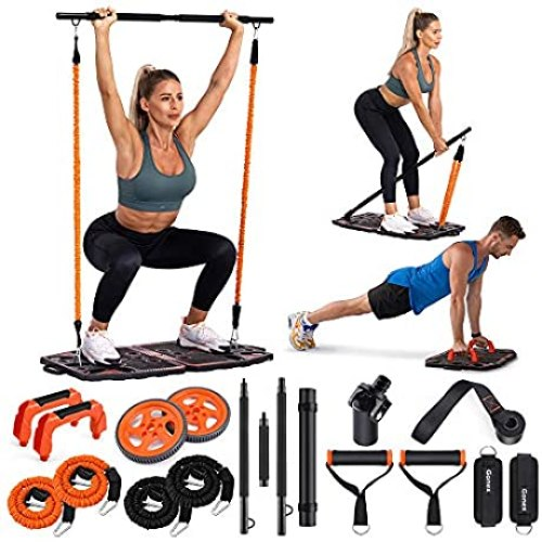 Gonex Portable Home Gym Workout Equipment with 10 Exercise Accessories Ab Roller Wheel, Elastic Resistance Bands, Push-up Stand, Post Landmine Sleeve and More for Full Body Workouts System