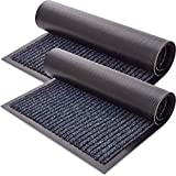 Sierra Concepts Front Door Mat Welcome Mats 2-Pack - Indoor Outdoor Rug Entryway Mats for Shoe Scraper, Ideal for Inside Outside Home High Traffic Area, Steel Gray & Black 30 x 17