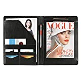 MEGREZ PU Leather Professional Business Executive Padfolio Interview Resume Document Organizer with Business Card Holder and Accessory Pocket, Black