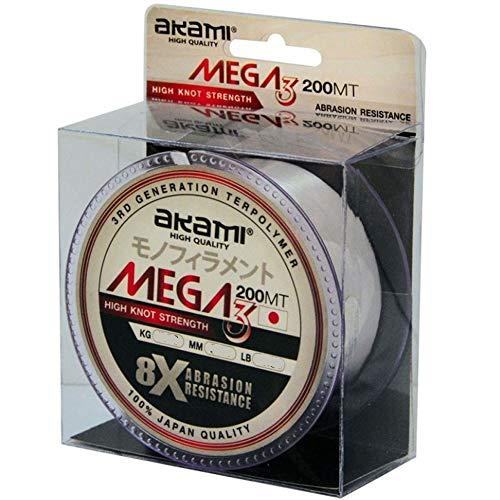 AKAMI Mega 3 Nylon MONOFILO 200mt 0.40MM 15.60kg 34.39lb