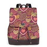 Yuanmeiju Womens Backpack Purse Love Heart Pink Brown Shoulder Bookbag Leather College Bag Ladies