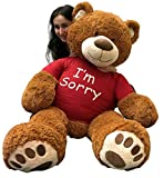 Giant Teddy Bear with I'm Sorry Shirt - Huge Plush Teddybear - 5-Foot Stuffed Animal - Apology Gift - OSO de Peluche - Cute Oversized Plushie - Jumbo Bear to Show You Care - Big Plush