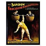 Wee Blue Coo Advert Circus Vaudeville Sandow Strong Man Dumbell Art Print Framed Poster Wall Decor 12x16 inch