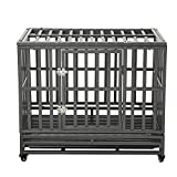 LUCKUP 38 Inch Heavy Duty Dog Cage Strong Metal Kennel and Crate for Large Dogs,Easy to Assemble Pet Playpen with Four Wheels,Black … …
