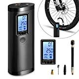 LLIVEKIT Rechargeable Air Compressor Pump Mini, Portable Cordless Tire Pump, Electric Hand Held Car Inflator, Digital LCD LED Light, 2000mAh Power Bank USB Charging, for Motorcycle, Bike, Bicycle