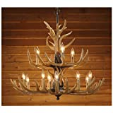 Twelve Light Deer Antler Chandelier Lighting, 36in. Chain