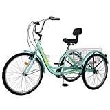 MOONCOOL Adult Tricycles 3 Wheel 7 Speed Trikes, 20/24 / 26 inch Adult Trikes 3 Wheeled Bike with Basket for Seniors, Women, Men. (Cyan-Yellow, 26in Wheels)