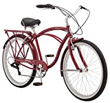 Schwinn Sanctuary 7 Comfort Cruiser Bike, Featuring Retro-Styled 16-Inch/Small Steel Step-Through Frame and 7-Speed Drivetrain with Front and Rear Fenders, Rear Rack, and 26-Inch Wheels, Cream/Purple