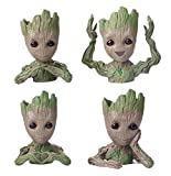 4 Pack Baby Groot Flower Pot Tree Man Maceta Maceta Con Orificio De Drenaje Portalpices, Diligence Office Party Ornament Christmas Birthday Gift Planter 6'