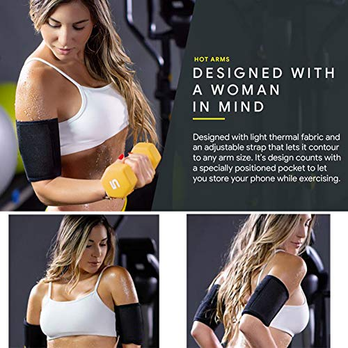 Arm Trimmers for Weight Loss - Arm Slimmers for Women & Men Pair Sauna Sleeves Wraps Sweat Arm Bands Neoprene Compression Workout Fat Burning Sudatory Black (M) 2