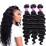 VRVOGUE( 12' 14' 16') Deep Wave Brazilian Weave Hair Bundles 100% Unprocessed Natural Color Virgin Brazilian Human Hair Extensions (12 14 16)