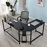 Merax Merax Glass L-Shaped Corner Desk Office Modern Home Computer Desk Multi Function Desk PC Laptop Table Workstation, Clear Glass with Black Metal Frame