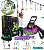 TrailBlaze Ninja Warrior Obstacle Course for Kids - 50ft Slackline w/ Monkey Bars Bonus Seat Swing Gym Rings | More Obstacles w/ Adjustable Positions - Perfect Ninja Course Training