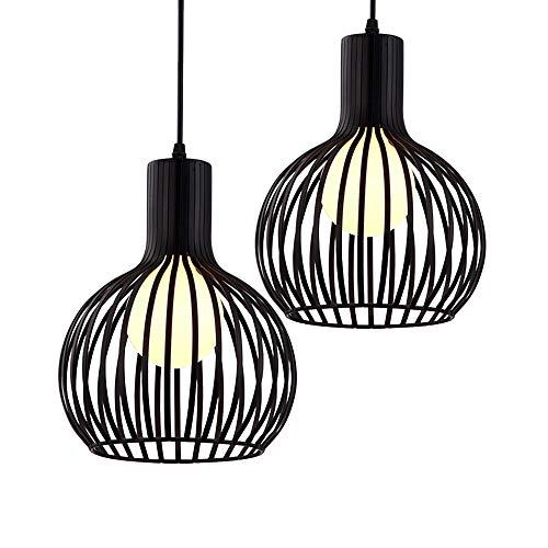 iDEGU Lot de 2 Suspension Luminaire Moderne, Lustre Plafonnier en métal en Forme de Cage à Vase Lampe de Plafond pour chambre salon cuisine salle à manger restaurant - diamètre 20cm, noir