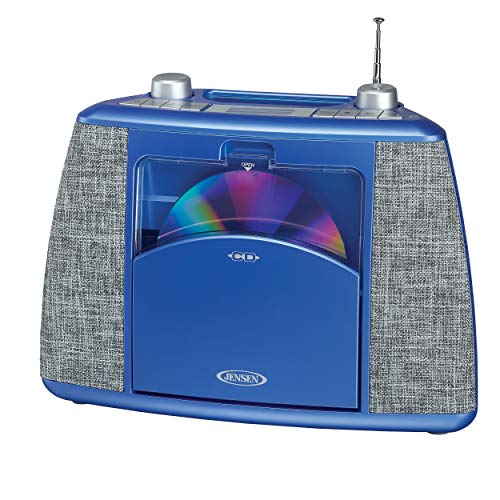 Jensen Home CD Player System Sport Handle + Bluetooth Boombox Portable Bluetooth Music System with CD Player +CD-R/RW & FM Radio with Aux-in & Headphone Jack Line-in (CD-565BL Black/Blue)