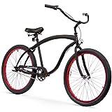 Firmstrong Bruiser 3 Speed - Men's 26-Inch Beach Cruiser Bike, Matte Black/ Red Rims