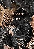Agenda 2020: 12 mois agenda 2020 - format A4 - janvier à décembre 2020 - planificateur, semainier simple & graphique, Motif feuille de palmier tropical or rose et noir