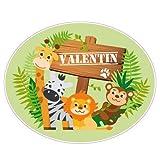 Sticker Porte Prénom Personnalisable Jungle - Dimensions 20x25cm - Adhesif Permanent Brillant