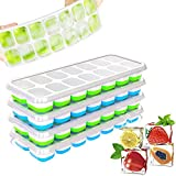 Ice Trays for Freezer with Lid, 4 Pcs Ice Cube Trays Easy Release Reusable, Flexible Silicone Ice Cube Tray with Lid, Durable and Dishwasher Safe for Freezer, Drinks, Whiskey and Cocktails