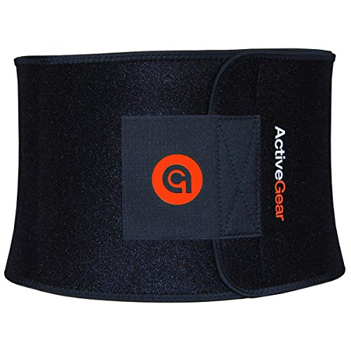 """ActiveGear Waist Trimmer Belt for Stomach and Back Lumbar Support, Large: 9"""" x 46"""" - Red 6"""