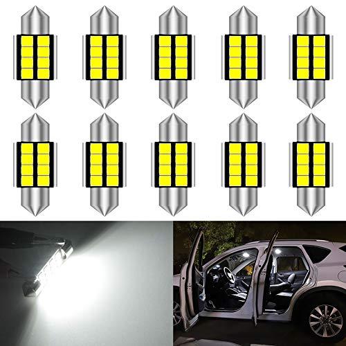 KATUR Super Bright 5630 Chipset Alluminio CanBus Error Free 1.25 '' 31mm DE3175 DE3021 DE3022 6428 7065 LED Festone Car Interior Door Map Luci della Cupola Xenon White 12V 10-Pack