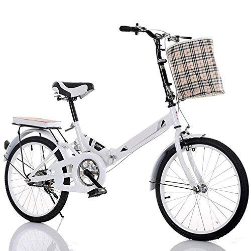 YEDENGPAO Bicicletas, Bicicleta Plegable, Universal Caminante, Unisex 6 Bicicleta Plegable Velocidad, 330 mm (13 Pulgadas) Marco Y 20 Pulgadas Ruedas,Blanco