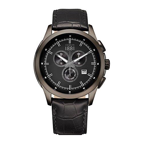 Cerruti Herren Multi Zifferblatt Quarz Uhr mit Leder Armband CRA092G222G