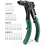 Rivet Gun, METAKOO One Hand Manual Rivet Gun Kit with 4 Interchangeable Color-Coded Heads, 4 in 1 Hand Riveter Set with 40-Piece Rivets