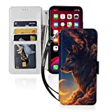 動物オオカミ宇宙 Iphone11スマホケース 手帳型 レザー 財布型 ワイヤレス充電可能 マグネット……
