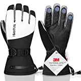 Hikenture Ski Gloves for Men Women-3M Thinsulate Snow Gloves Waterproof Insulated -Extreme Cold Weather Snowboard Gloves,Adult Winter Warm Touchscreen Snowmobile Gloves with Pockets(Grey S)