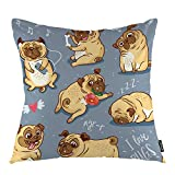 oFloral Dog Throw Pillow Covers Cartoon Pug Pupies Bull Terrier Baby Animal Decorative Square Pillow Case 18'X18' Pillowcase Home Decor for Sofa Bedroom Livingroom