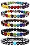 Cadeau de Saint Valentin 7 Chakras Bracelet Extensible de Pierre Gemme 5 Pack...