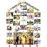 Uping Cadre Photo Pêle Mêle Mural Cadre Photo Mural en Bois Porte Photos Pinces, avec Sticker pour Personnalisation (Bois, 63CM * 90CM)