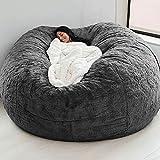 7ft Giant Fur Bean Bag Cover No Filler Soft Fluffy Fur Portable Living Room Lazy Sofa Bed Cover Without Filler (Color : Dark Grey)