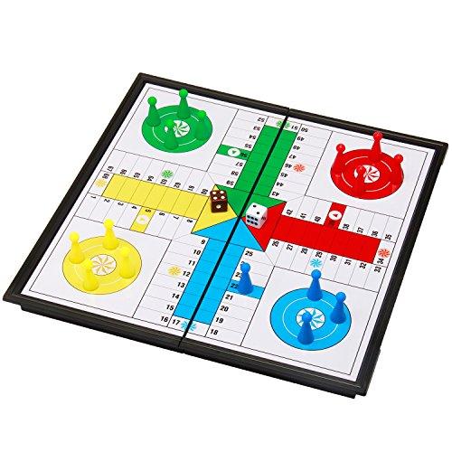 Amerous 10' Ludo Go Board Folding Travel Magnetic Ludo Set