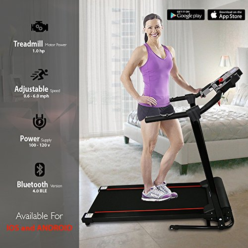SereneLife SLFTRD18 - Smart Folding Compact Treadmill with Downloadable App & Bluetooth connectivity 2