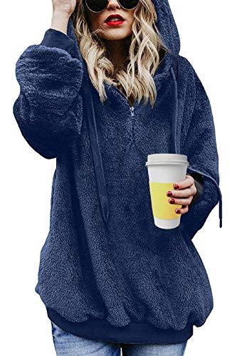 Tuopuda Felpe Tumblr Ragazza Donna Felpa con Cappuccio Donna Caldo Maniche Lunghe Autunn Invernali Felpe Eleganti Donna Sweatshirt Cerniera Sweatshirt Hoodies Donna Casual Top (S, Blu)