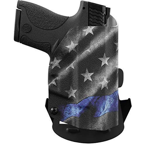 We The People Holsters - Thin Blue Line - Right Hand Outside Waistband Concealed Carry Kydex OWB Holster Compatible with Glock 43/43X G43/43X w/Streamlight TLR-6 Light/Laser