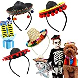 Cinco De Mayo 4 Pcs Small Fiesta Sequined Fabric and Straw Sombrero Headbands Party Costume for Mexican Theme Party,Fun Fiesta Taco Party Supplies, Luau Party Photo Props Black