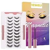 VESHELY Magnetic Eyelashes with Eyeliner Kit,3D Upgraded Magnetic False Fake Lashes Set Short and Long, Reusable Waterproof Magnetic Liners