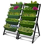 Outland Living 4-Ft Raised Garden Bed - Vertical Garden Freestanding Elevated Planters 5 Container Boxes - Good Patio Balcony Indoor Outdoor (Ivy Green, 2-Pack)