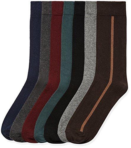 Marchio Amazon - find. 7 Pack Ankle Sock, Calze Uomo, Multicolore (Multicoloured), 44-47 EU, Label:...