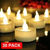 AMAGIC 30 Pack LED Tea Lights, Flameless Tealights Candles with Flickering Warm White Light, Battery Operated Tea Lights Bulk for Easter Decor, D1.4'' X H1.3''