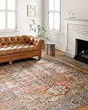 Loloi Loren Collection Vintage Printed Persian Area Rug 7'-6' x 9'-6' Terracotta/Sky