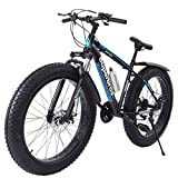 Gorunning Fat Tire Mens Mountain Bike, High-Tensile Steel Frame, 7-Speed, 26-inch Wheels, Fashion Outdoor Sports City Road Bike, Non-Slip Snow Bike, with Kettle Accessories
