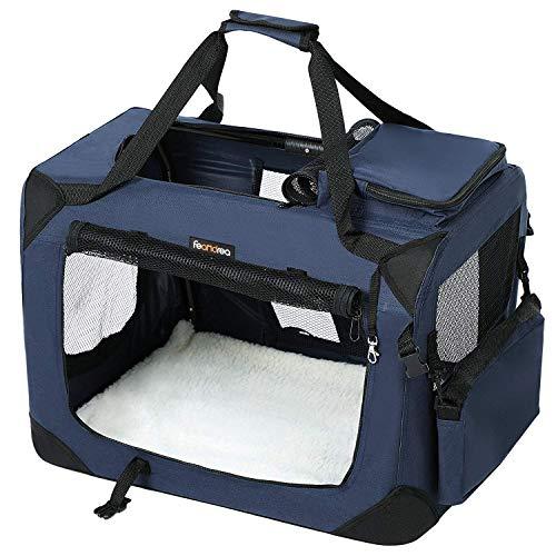 FEANDREA Cage de Transport, Caisse Sac de Transport Pliable, pour Chien, Animal Domestique, Bleu foncé, 60 x 40 x 40 cm PDC60Z